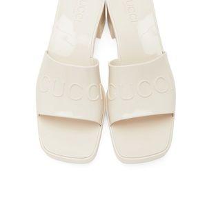 Gucci beige/grey jelly slides